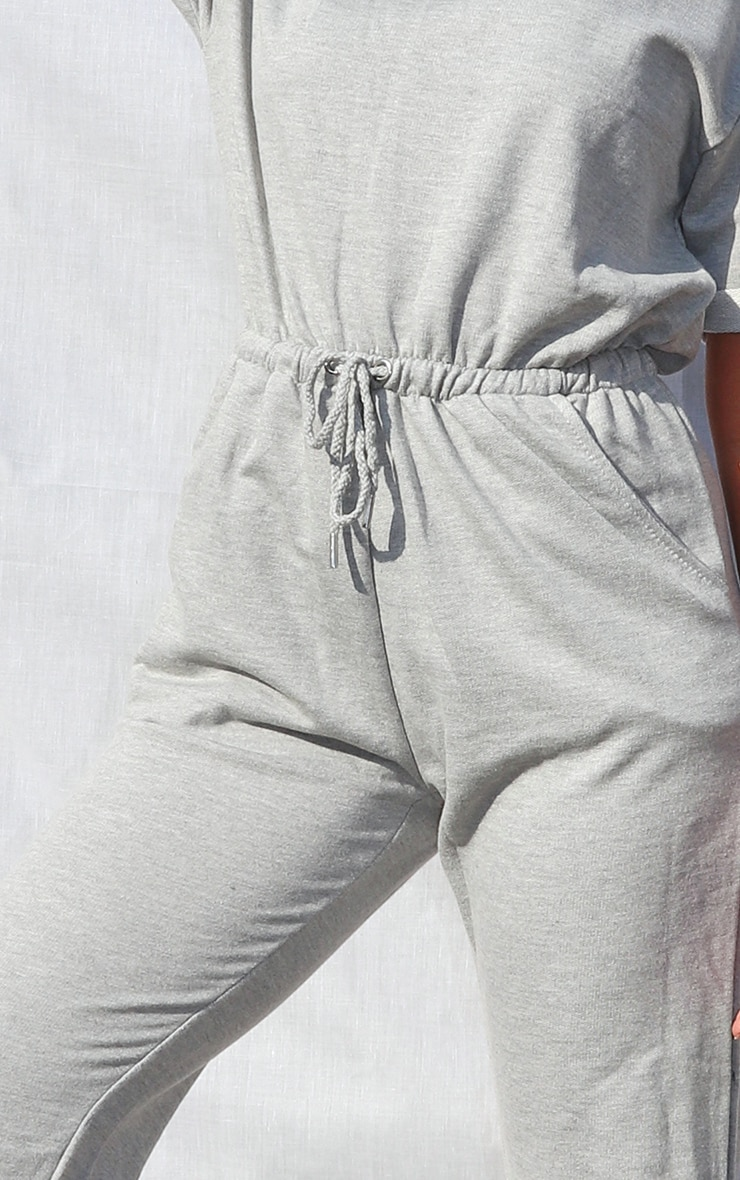 Petite Grey Sleeve Sweat Jumpsuit 4