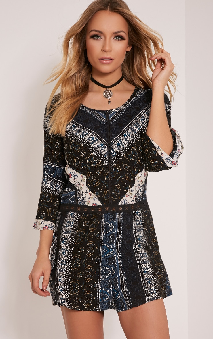 Abby Navy Printed Playsuit 1