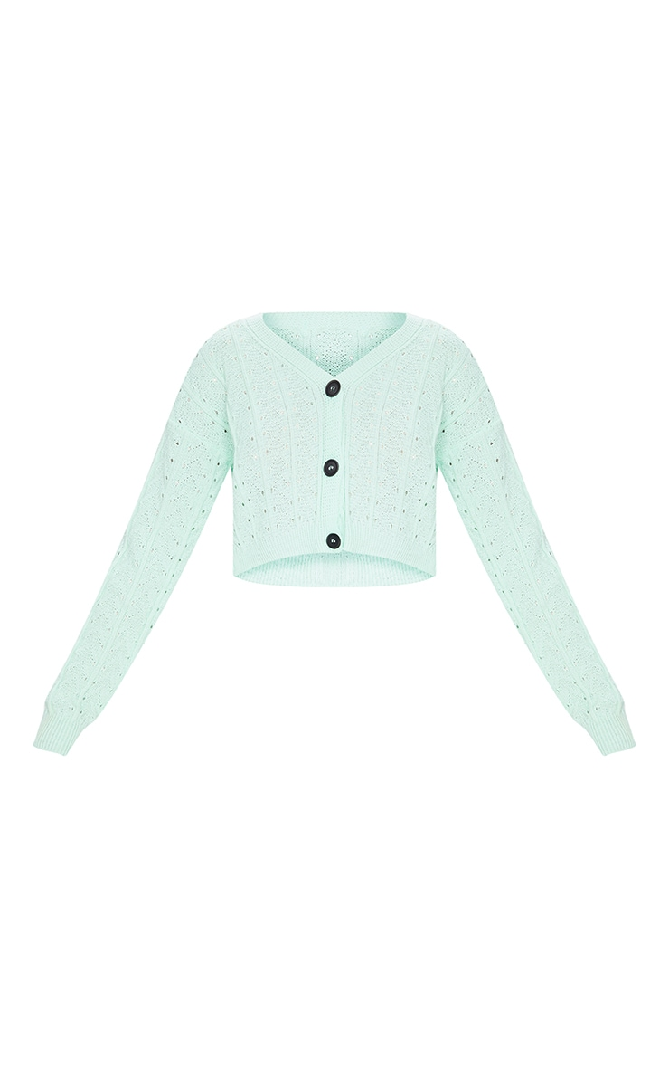 Mint Cropped Cable Pointelle Button Down Cardigan 5