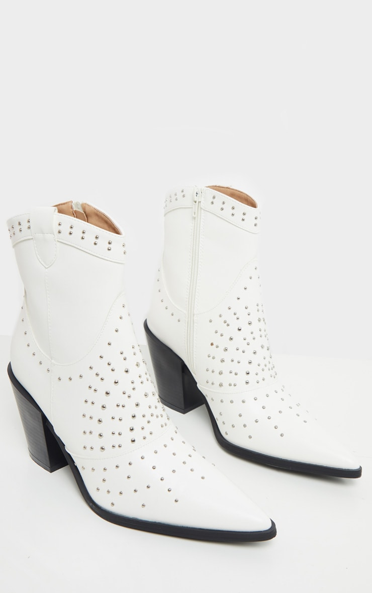 White Point Toe Stud Detail Western Heel Ankle Boot 4