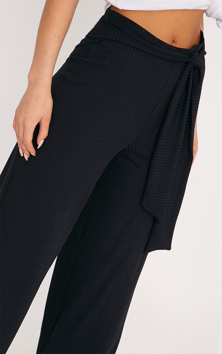 Karrah Black Wide Leg Tie Front Ribbed Pants 5