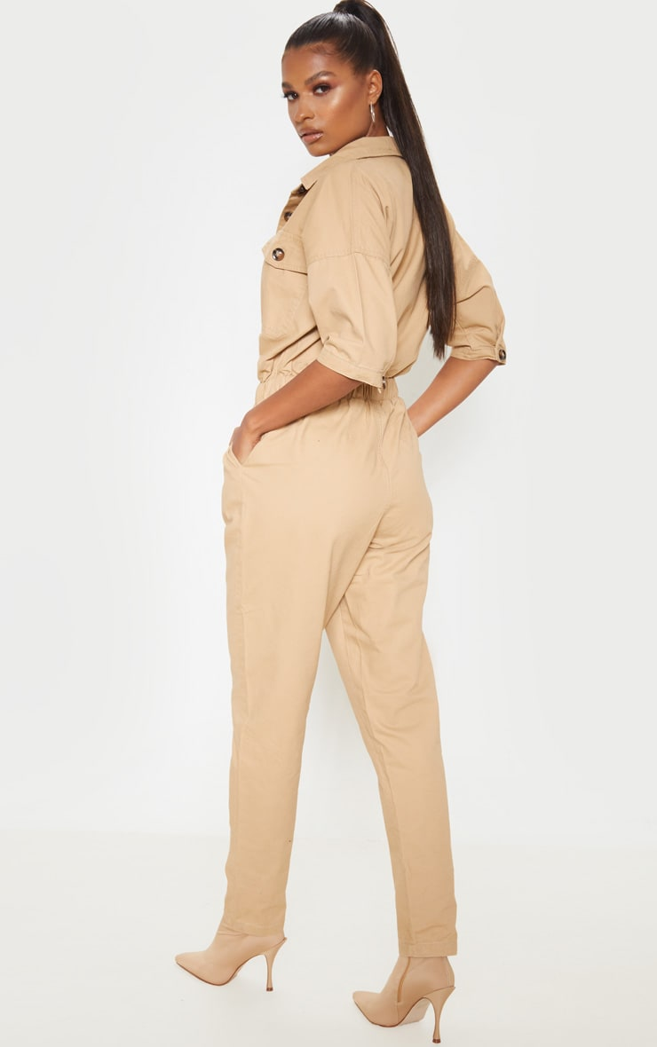 Sand Tortoise Button Chambray Jumpsuit 2