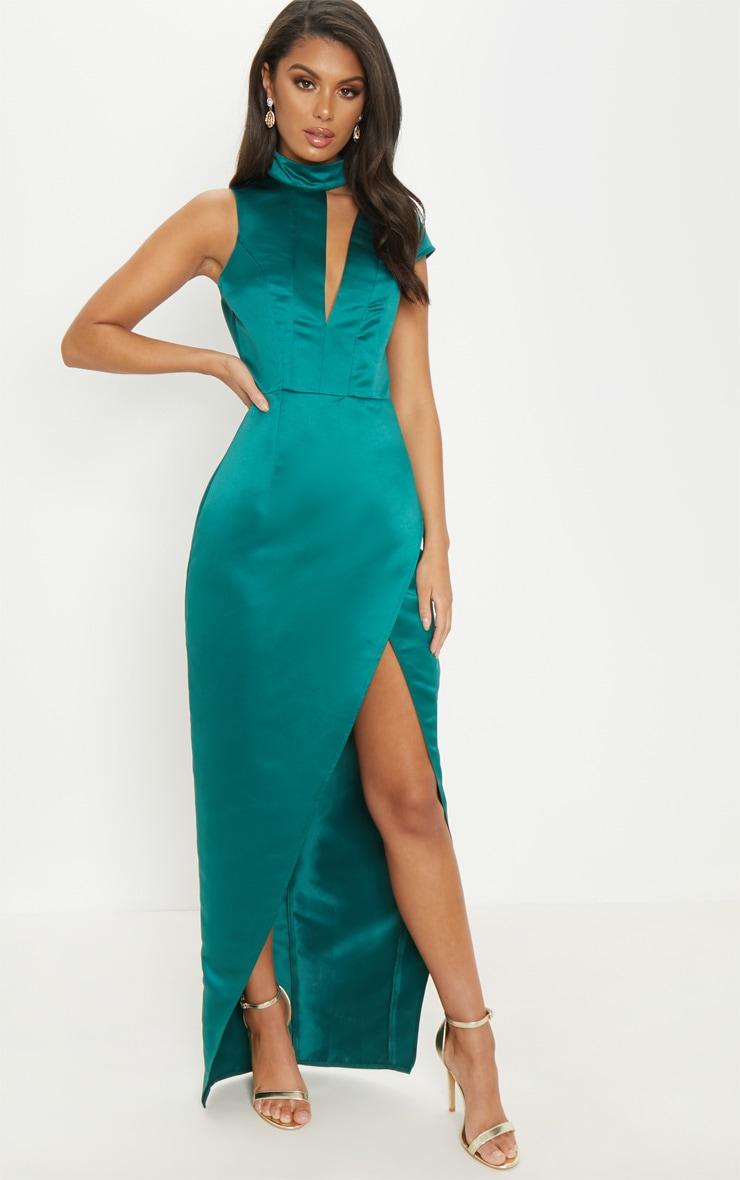 Emerald Green Satin Drape Detail Wrap Maxi Dress 1