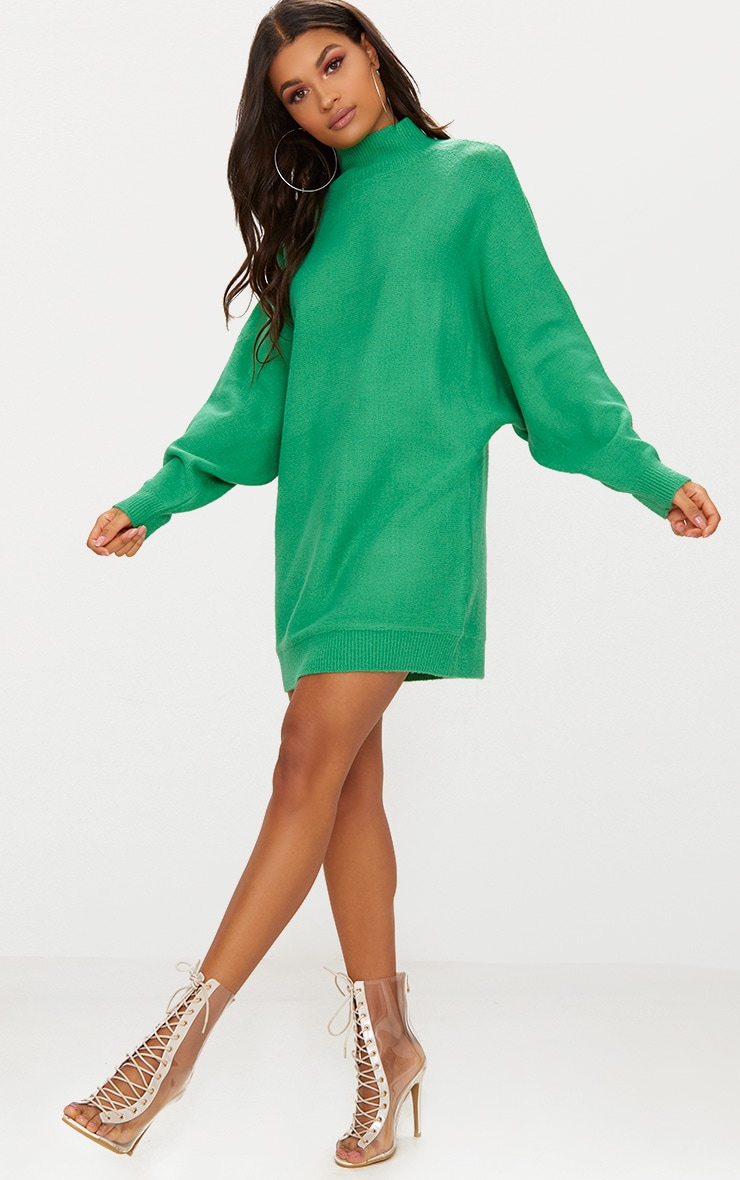Green Oversized Jumper Dress 1