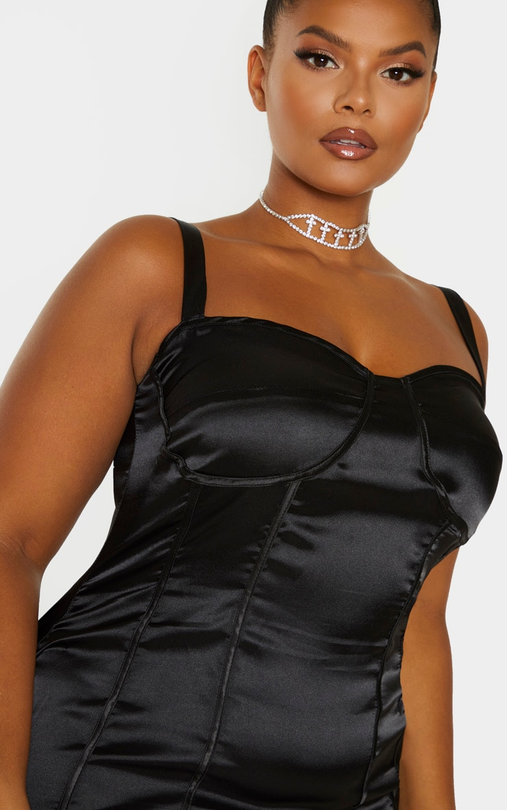 Plus Black Satin Corset Detail Bodycon Dress 5