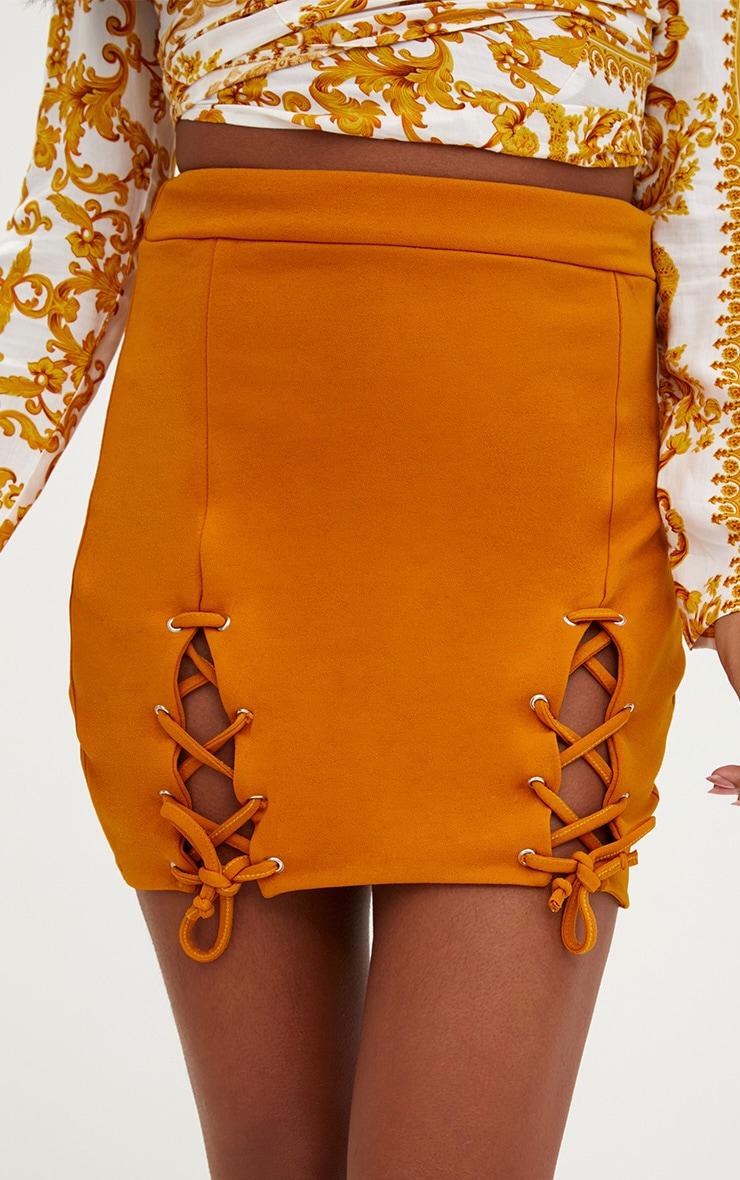 Mustard Double Split Lace Up Mini Skirt 6
