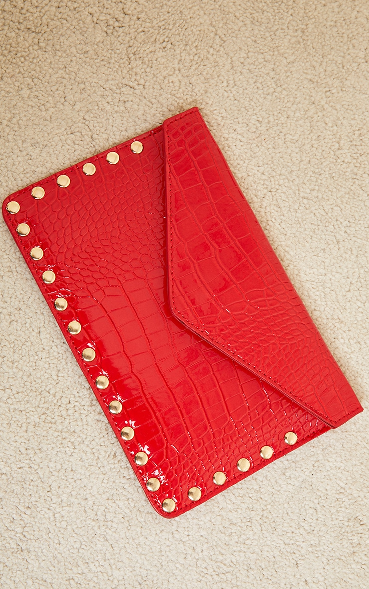 Red Patent Croc Gold Studded Envelope Clutch Bag 3