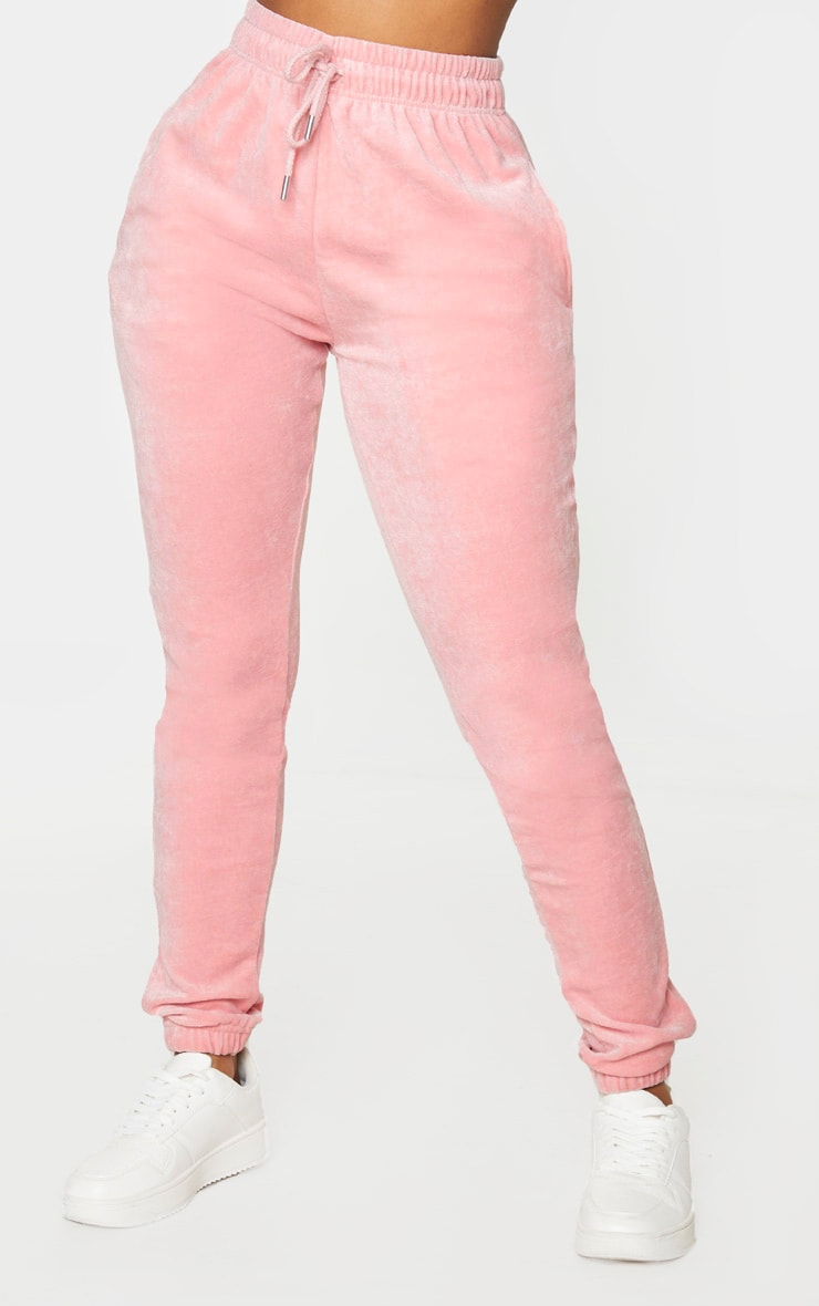 PRETTYLITTLETHING Shape Baby Pink Velour Skinny Joggers 2
