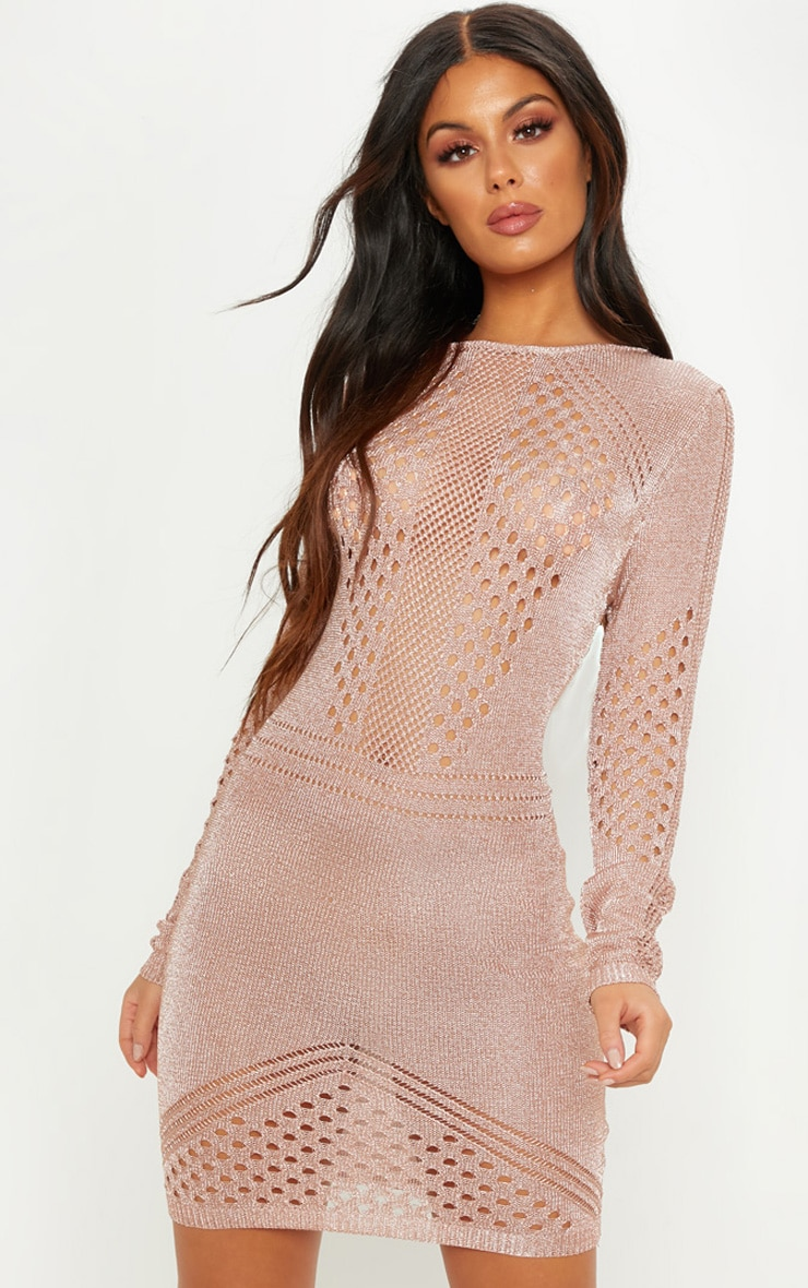 Rose Gold Metallic Knitted Long Sleeve Dress
