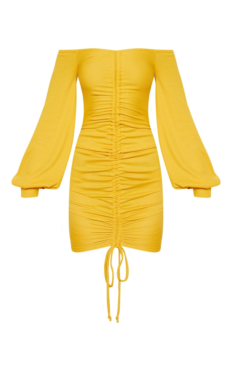 Mustard Ribbed Bardot Balloon Sleeve Ruched Bodycon Dress 4
