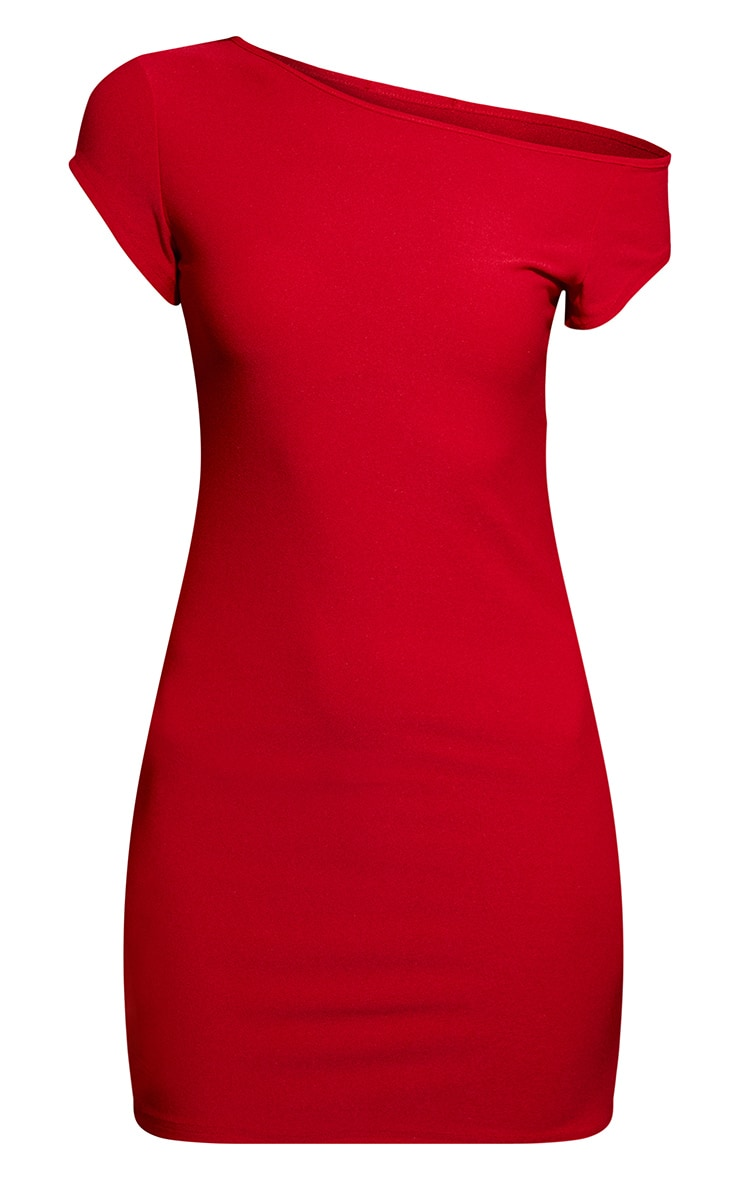 Red Off The Shoulder Bodycon Dress 3