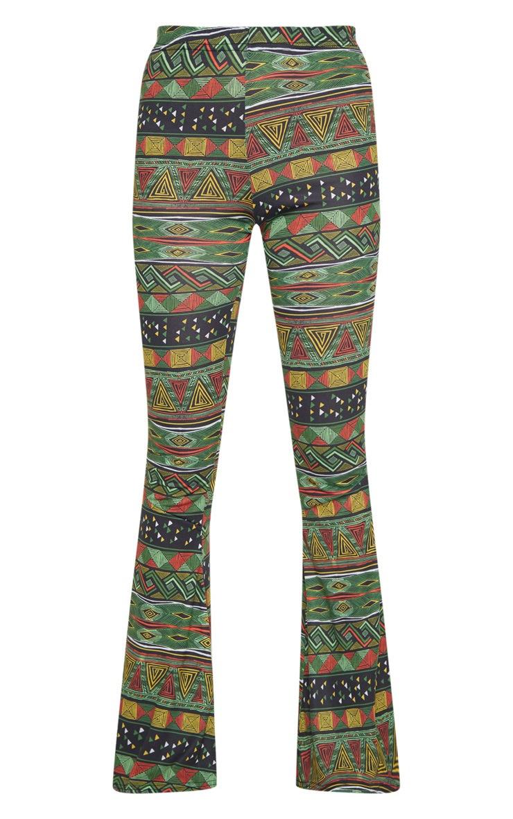 Green Tribal Print Flare Trouser  3