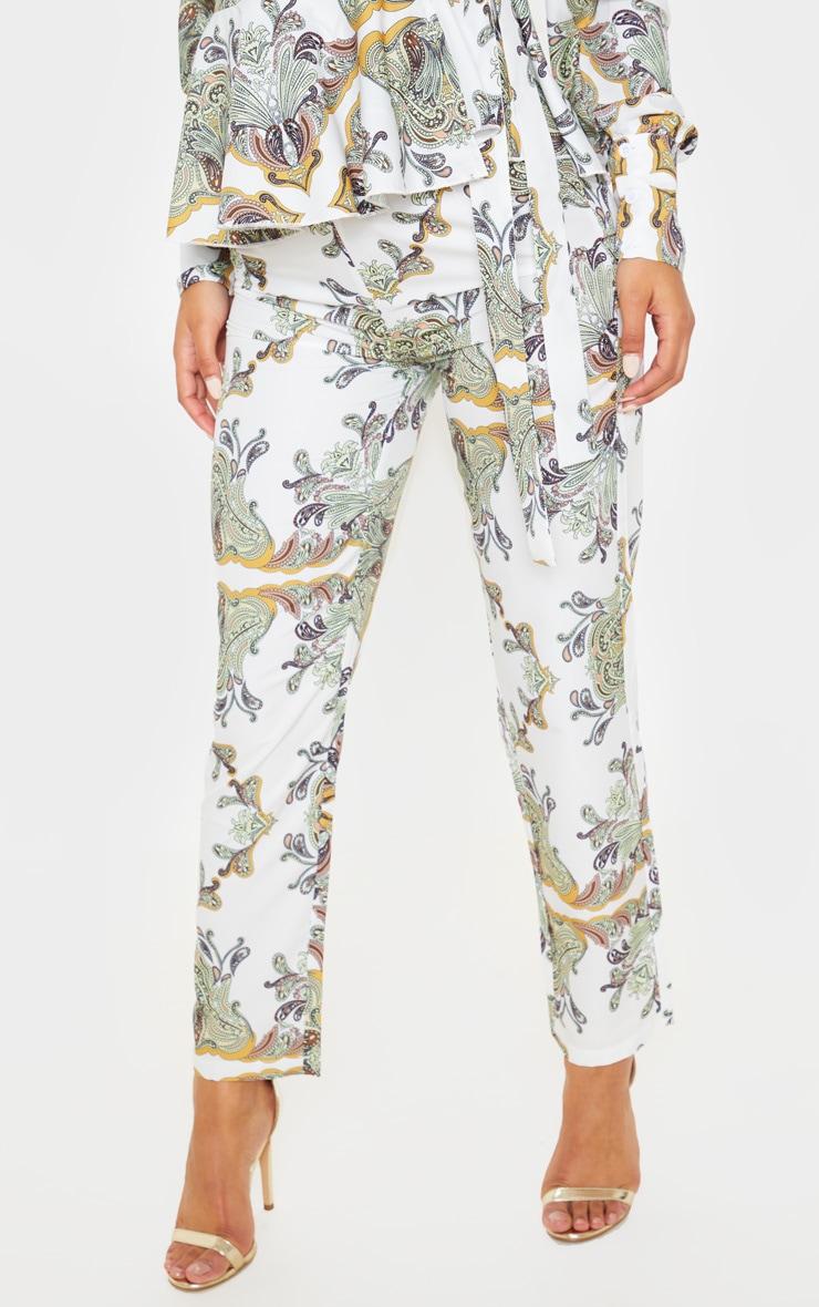 White Paisley Tile Print High Waisted Cigarette Trouser 2