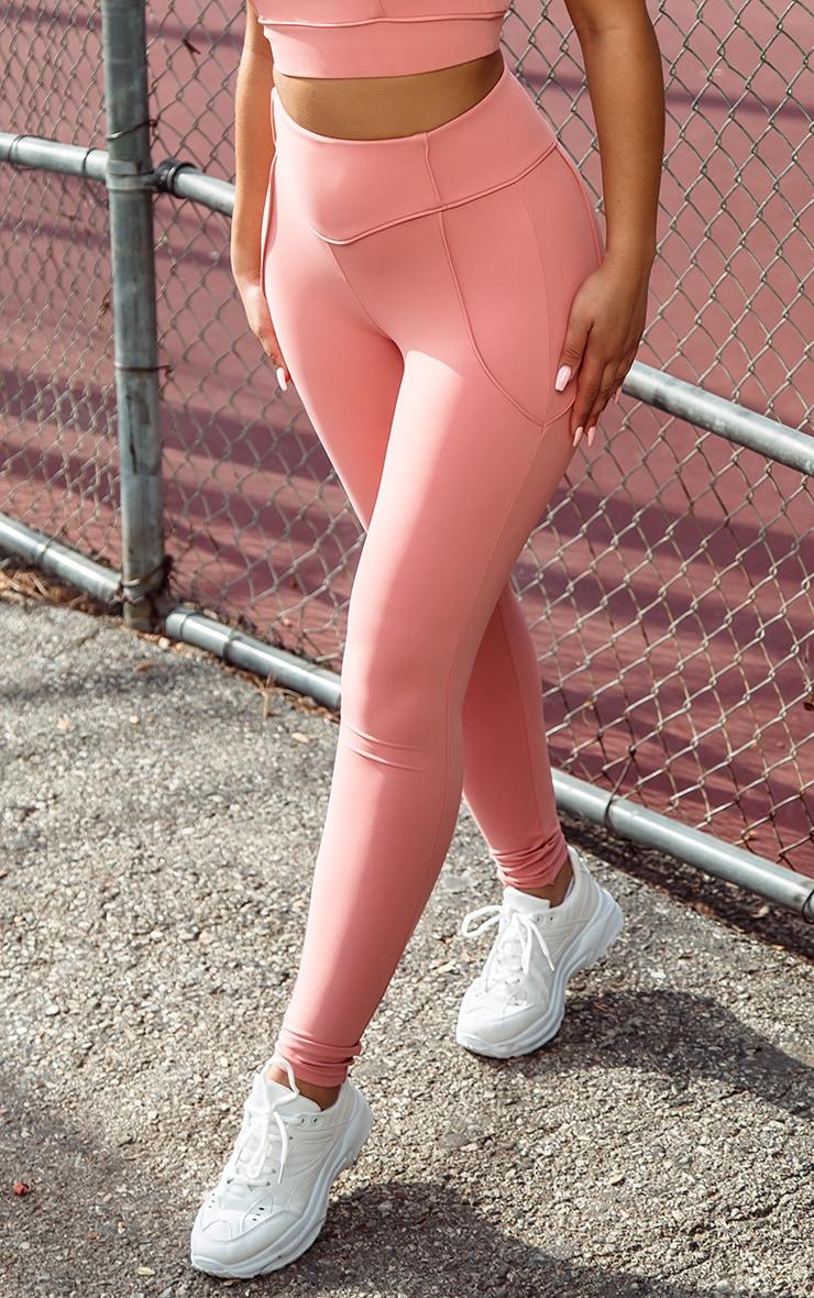 Legging de sport rose cendré taille haute à détail liserés  2