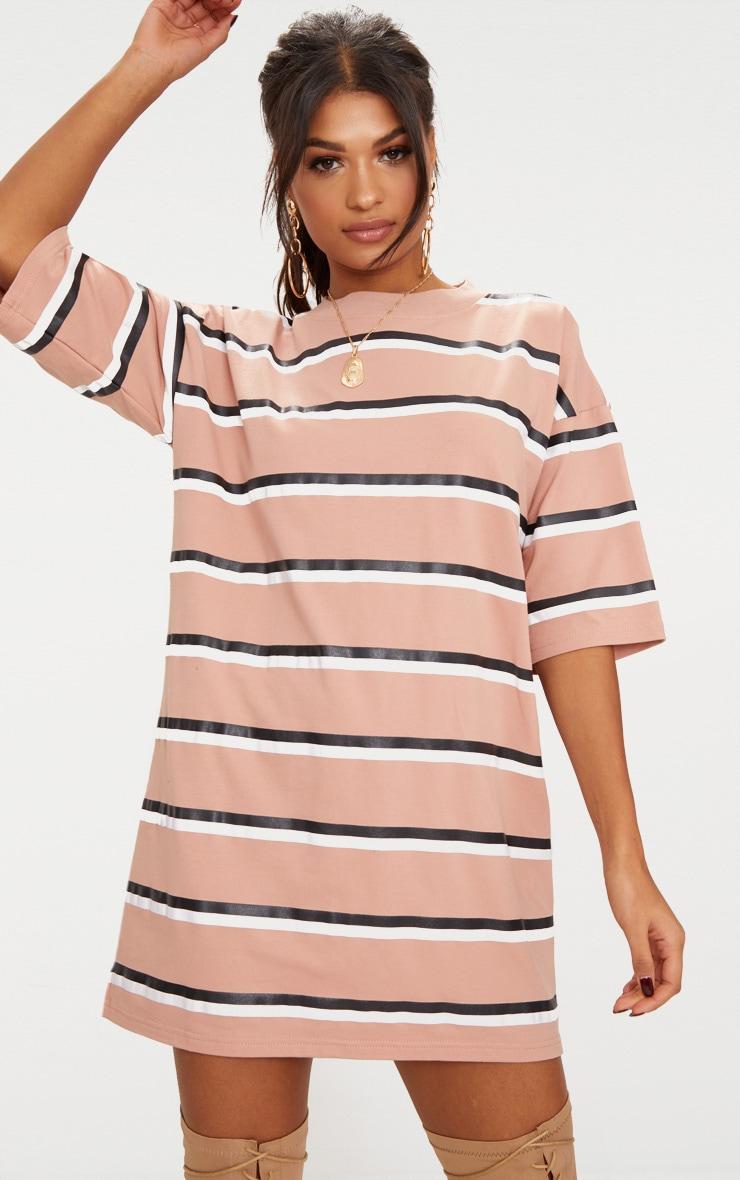 Recycled Camel Oversized Striped Boyfriend T Shirt Dress 1