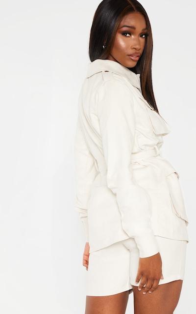 Cream Faux Suede Pocket Detail Jacket