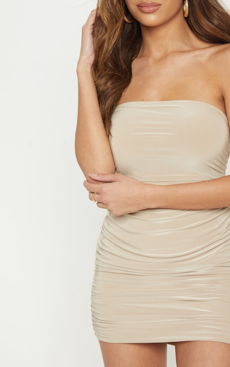 Stone Ruched Slinky Bandeau Bodycon Dress  4