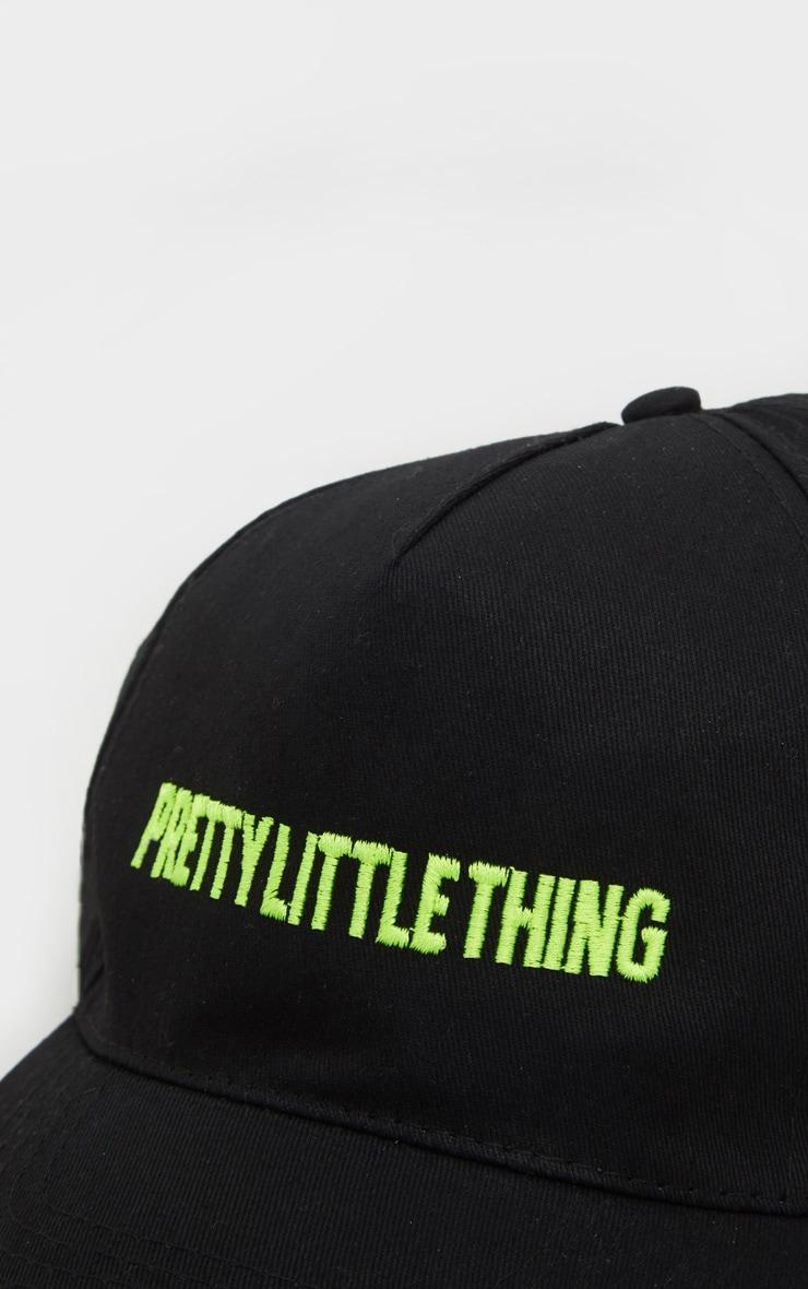 PRETTYLITTLETHING Logo Black Neon Green Front Cap 3