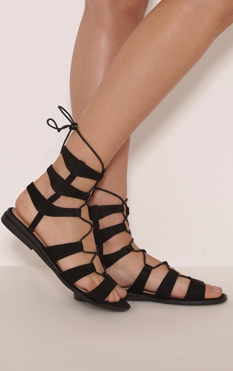 Femi Black Faux Suede Gladiator Sandals 3