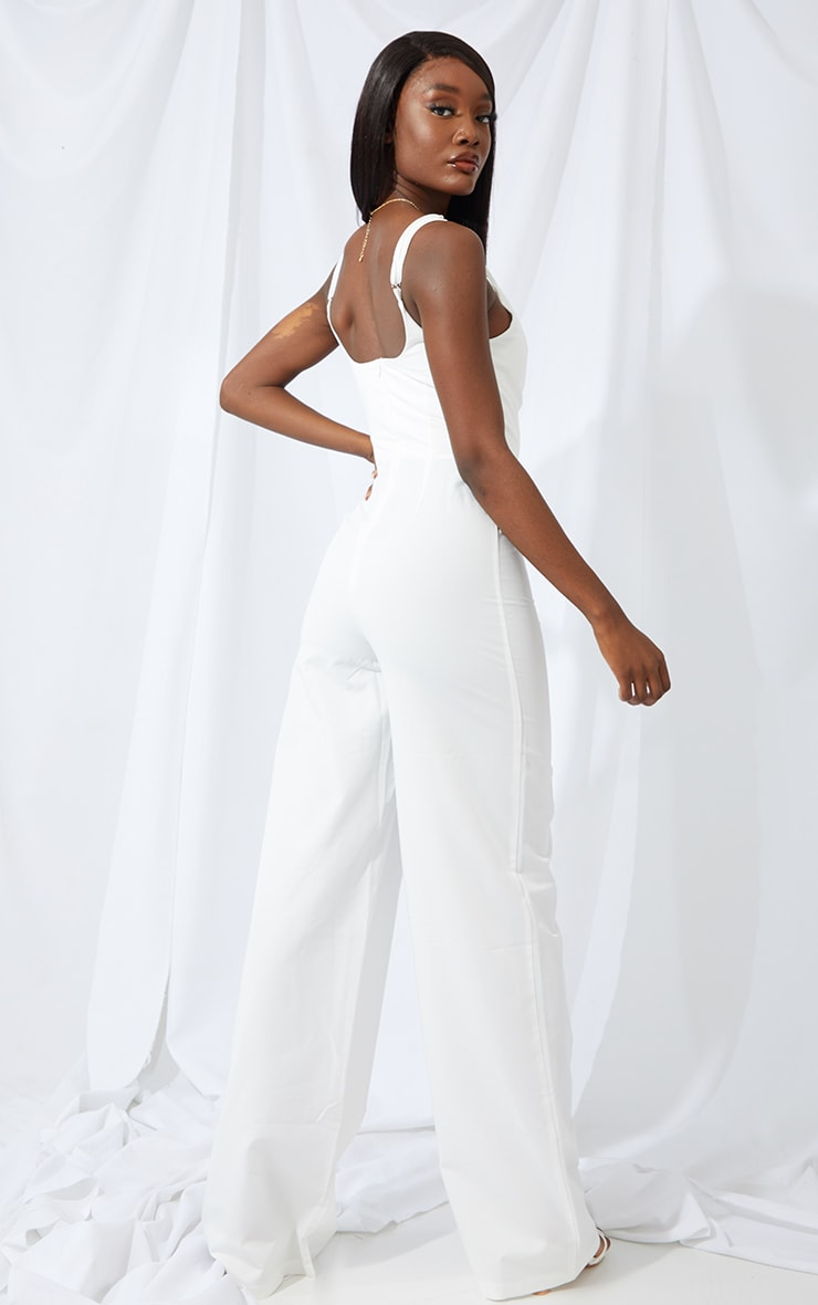 Tall Cream Cup Detail Wide Leg Jumpsuit 2