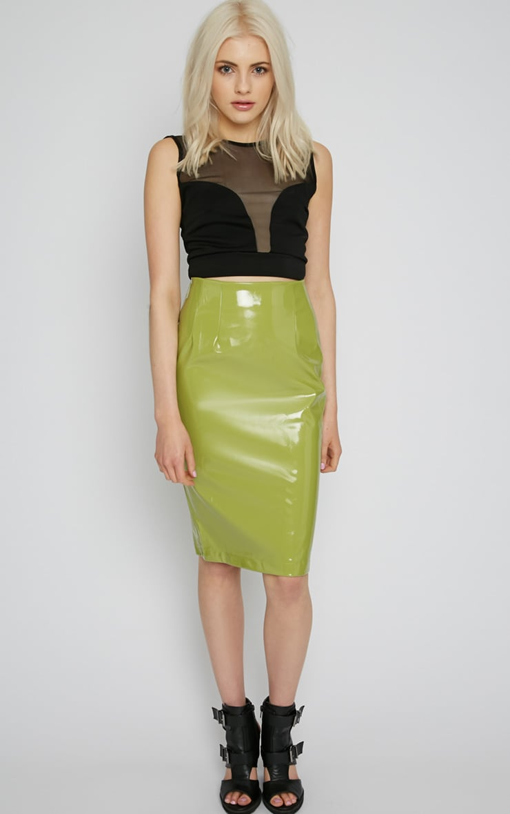 Kortney Green High Shine PVC Midi Skirt 5