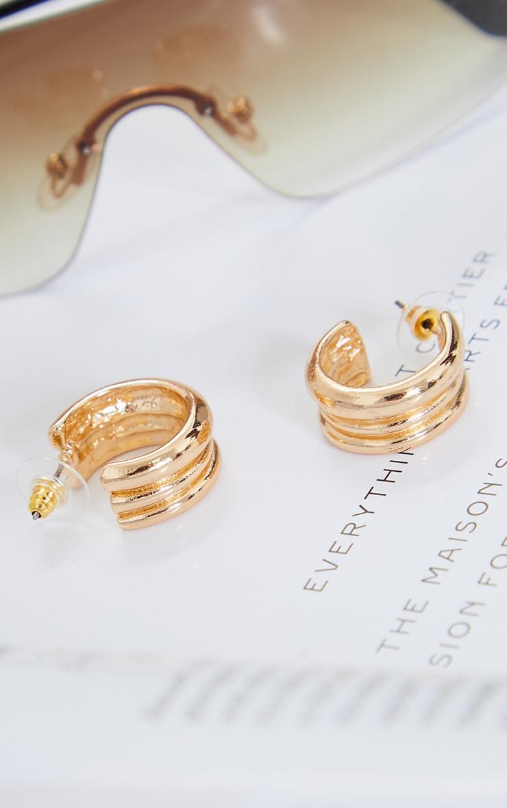 Gold Mini Ribbed Hoop Earrings 3