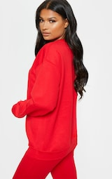 PRETTYLITTLETHING Red Embroidered Oversized Sweatshirt 2