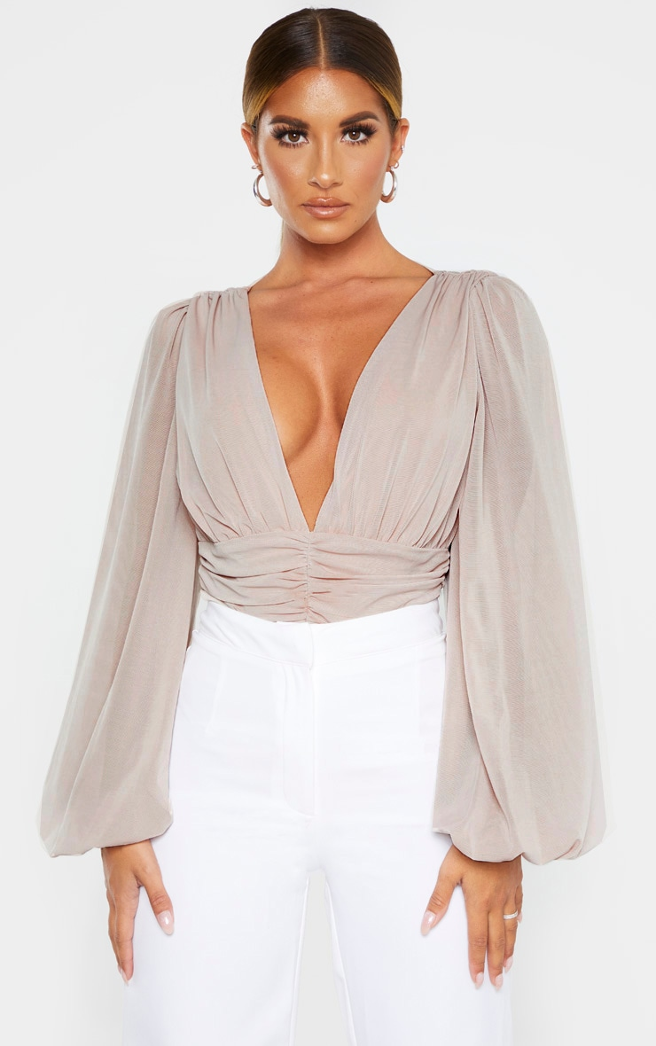 Nude Mesh Ruched Waistband Bodysuit 1