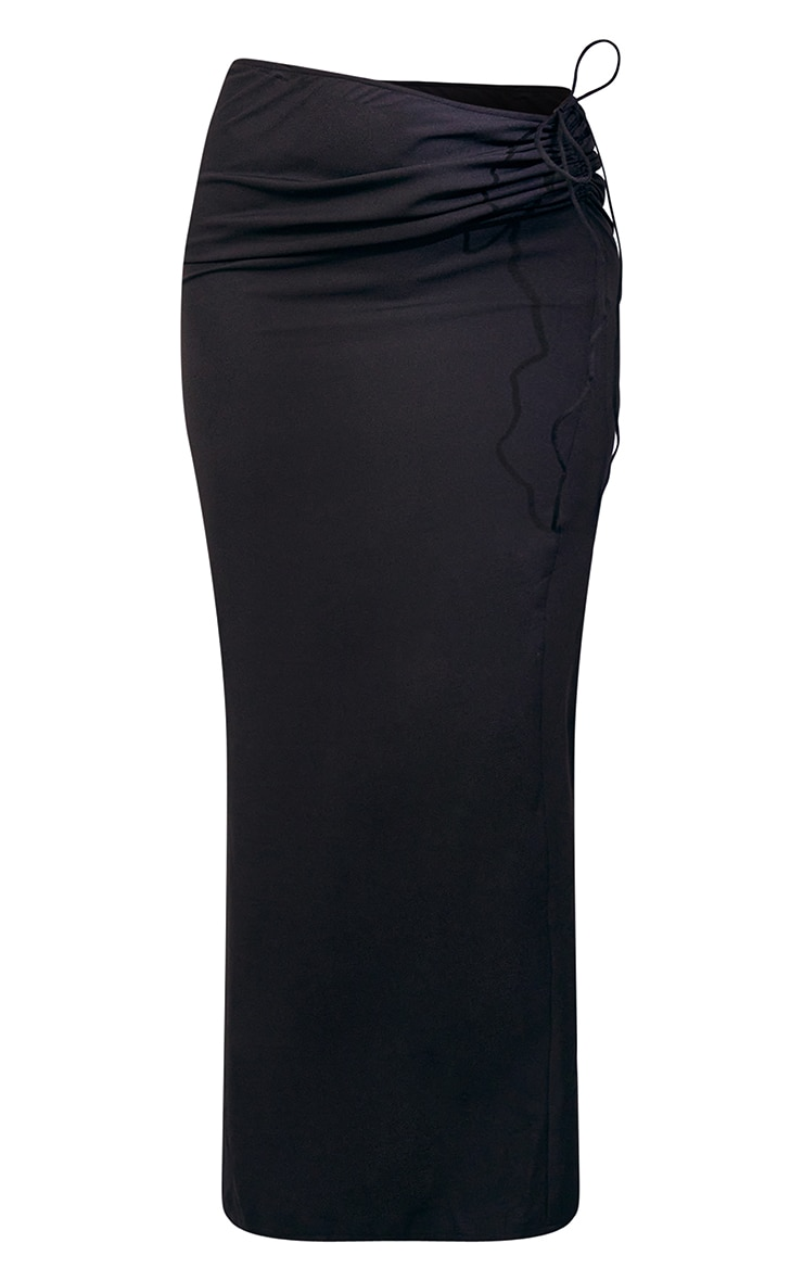 Black Woven Ruched Tie Front Maxi Skirt 5