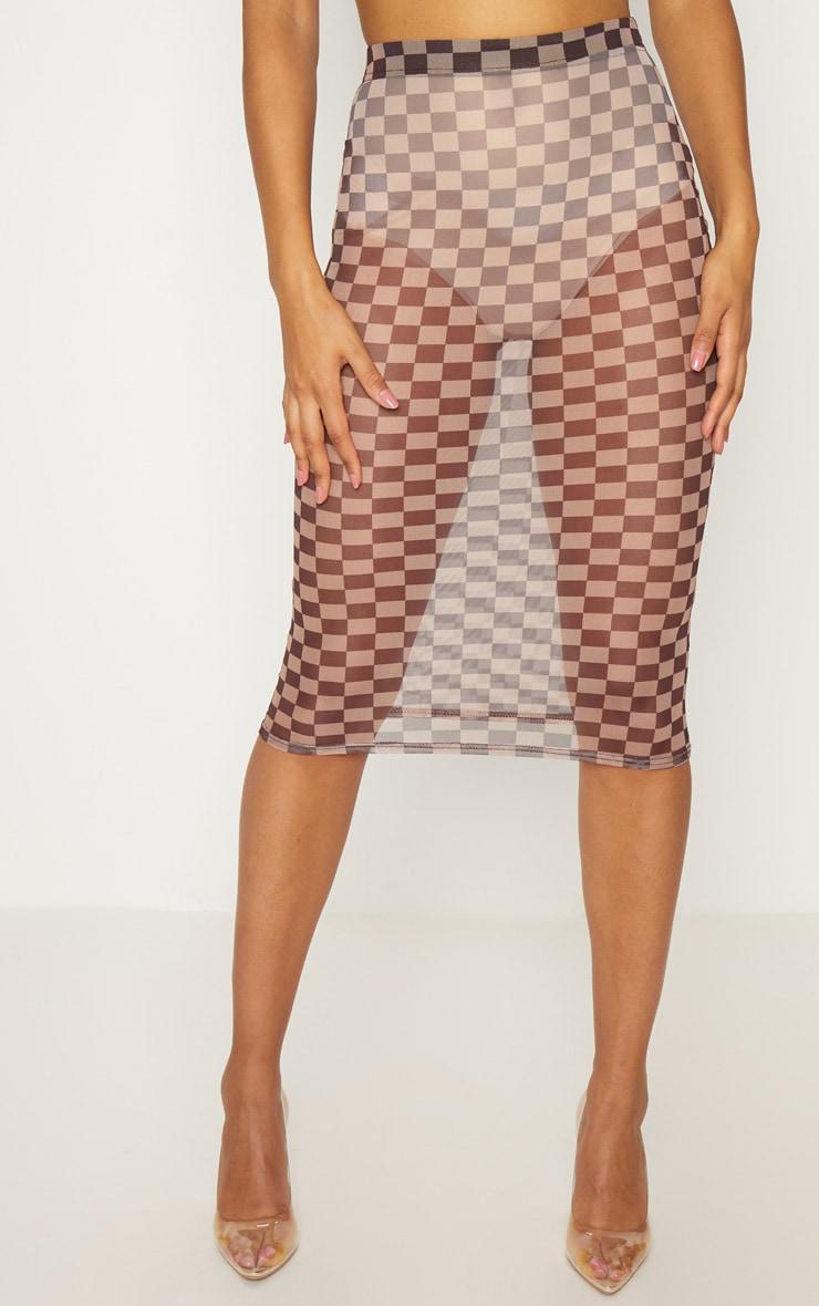 Brown Sheer Contrast Square Midi Skirt 2