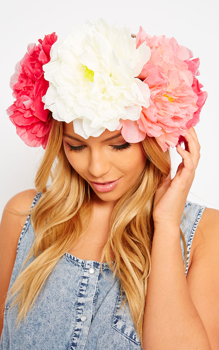 Sava Pink Large Floral Hair Garland 2