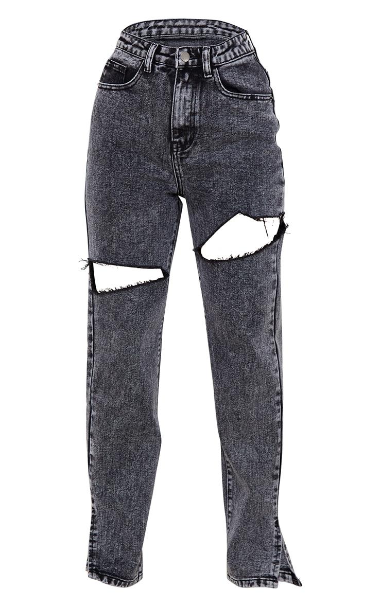 Petite Washed Grey Thigh Distress Split Hem Denim Jeans 5