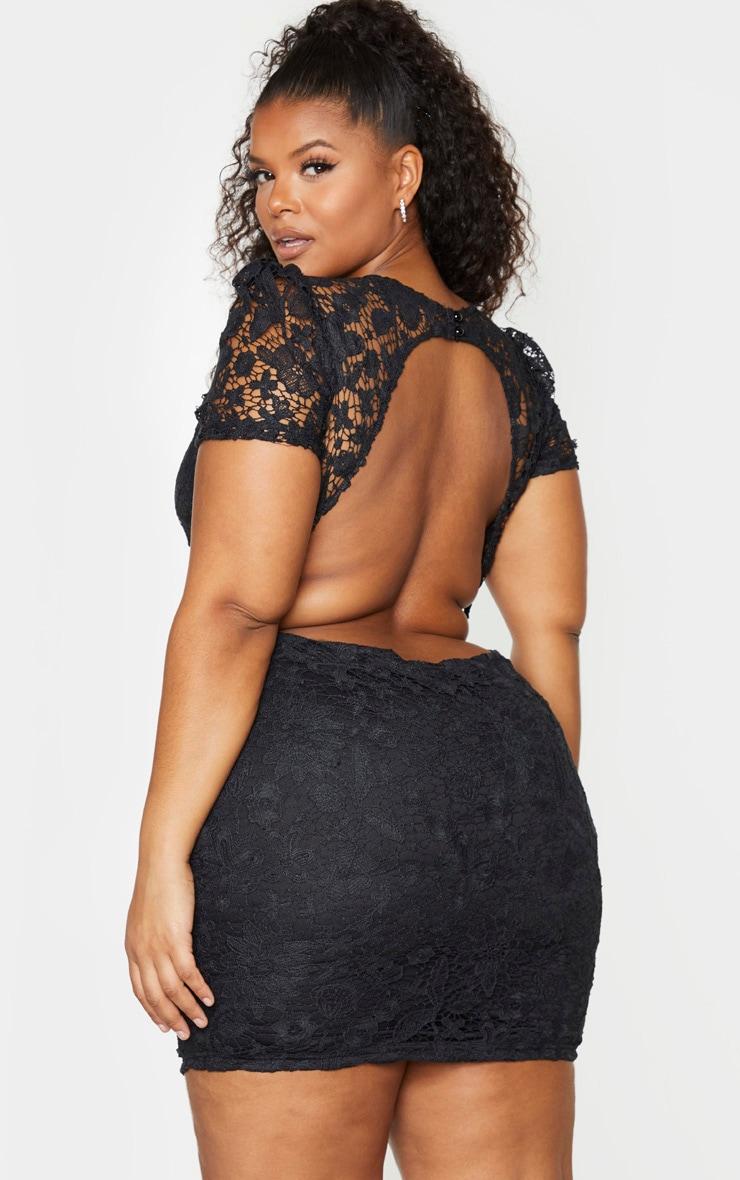 Plus Black Lace Backless Cap Sleeve Bodycon Dress 1