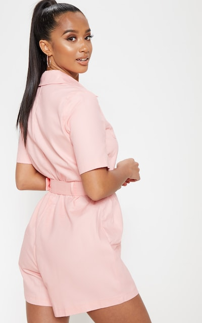 Petite Pink Belted Utility Playsuit
