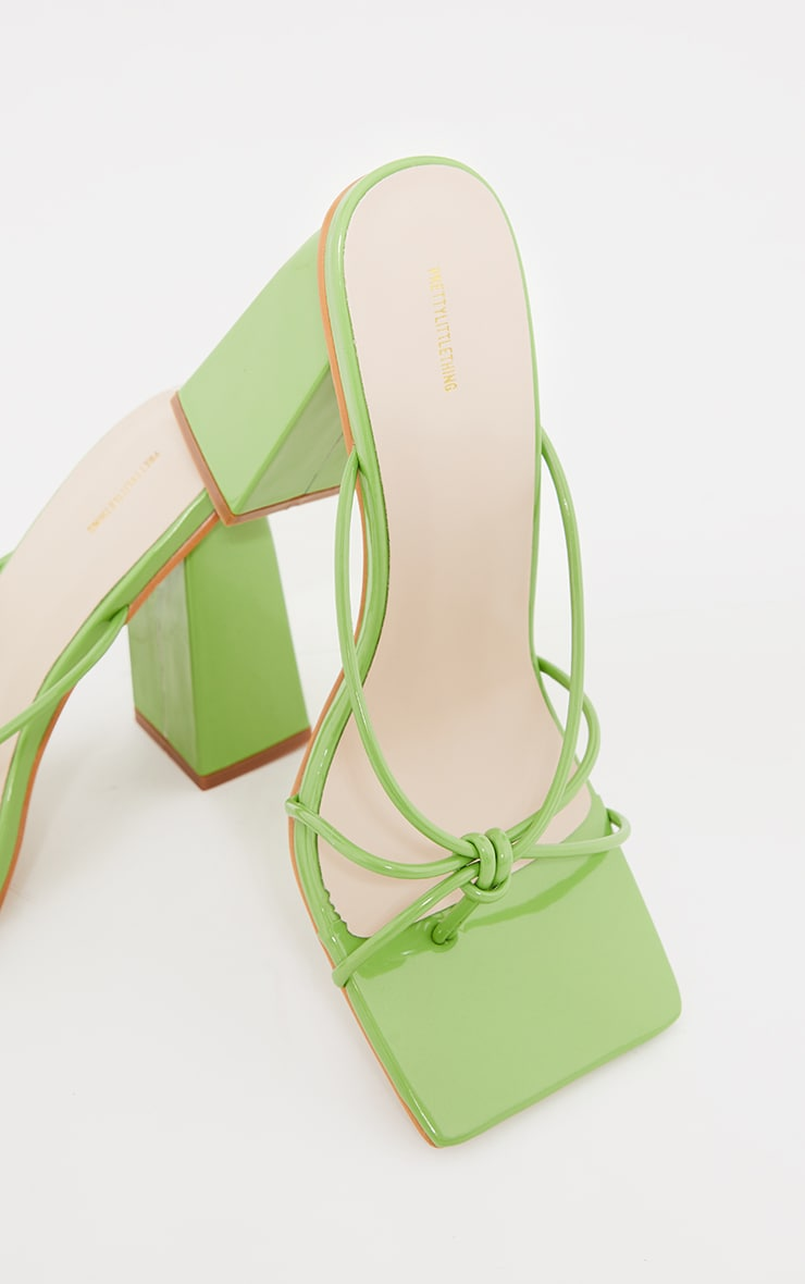 Green Wide Fit Patent PU Toe Thong Knot Heeled Mules 3