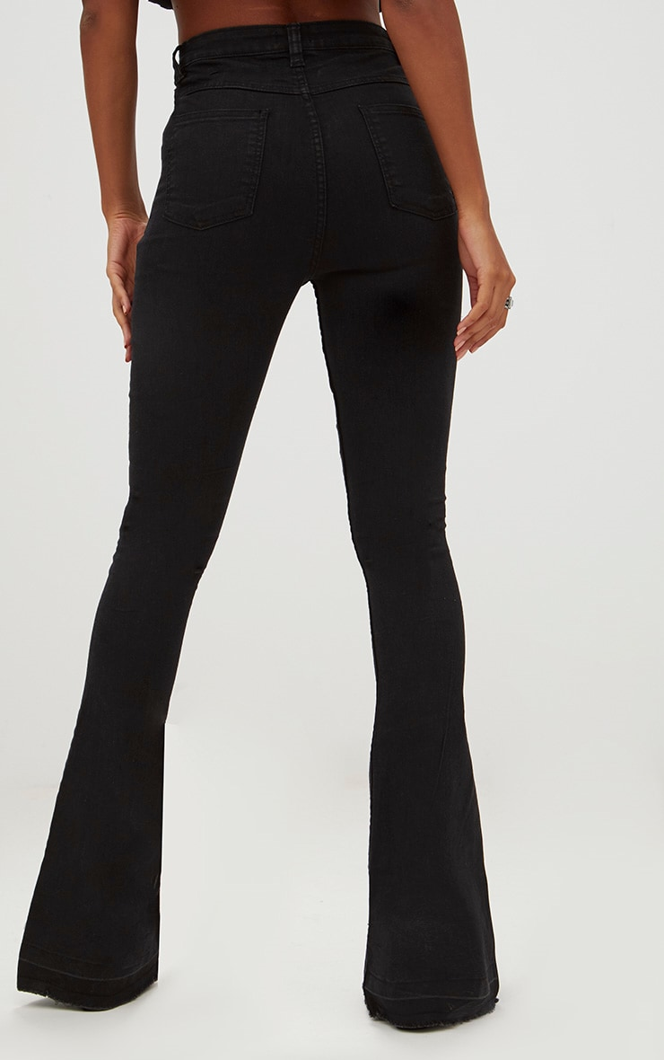 Black Distressed Knee Flare Jean 5