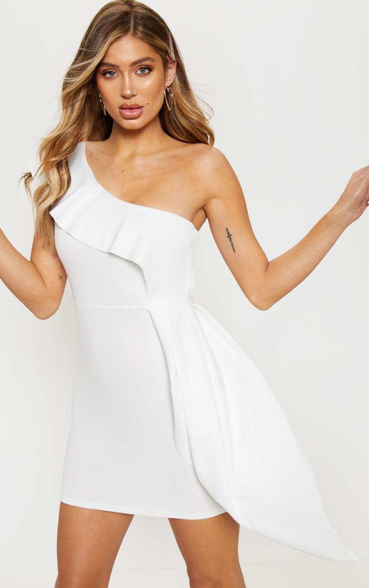 9dcb6dd1a White Scuba One Shoulder Bodycon Dress | PrettyLittleThing