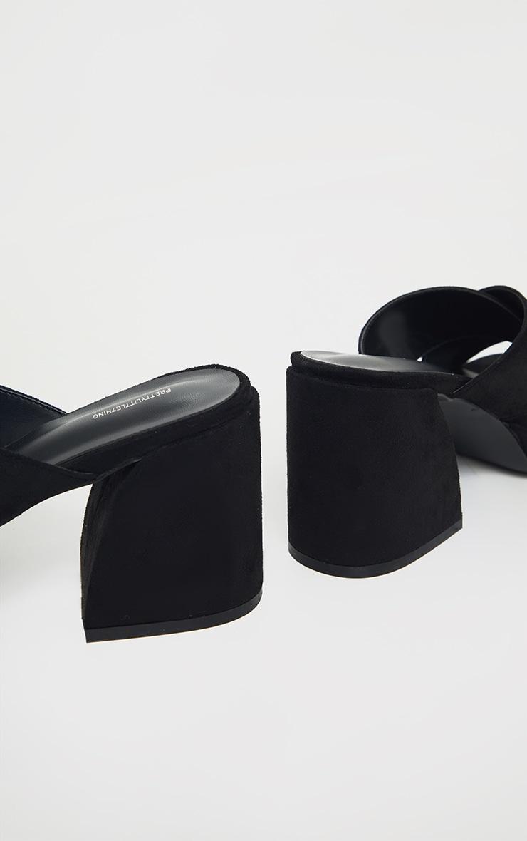 Black Extreme Block Heel Low Platform Cross Strap Mule Sandals 4