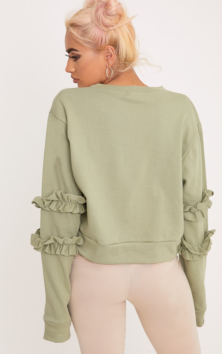 Venetia Sage Green Frill Detail Sleeve Sweater 2