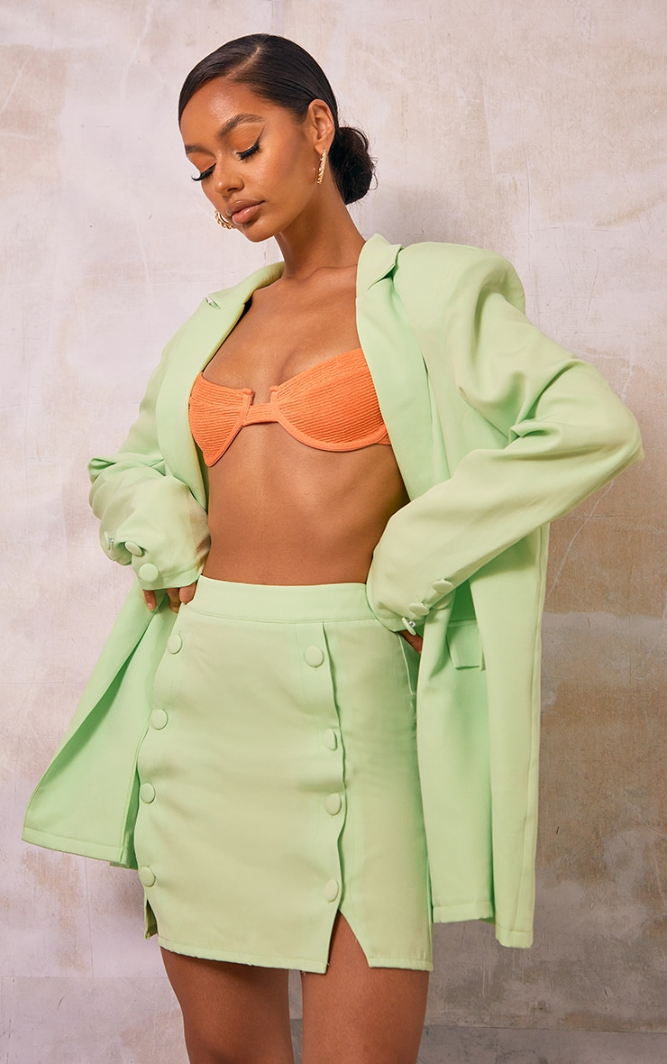 Pale Lime Woven Button Front Mini Suit Skirt 4