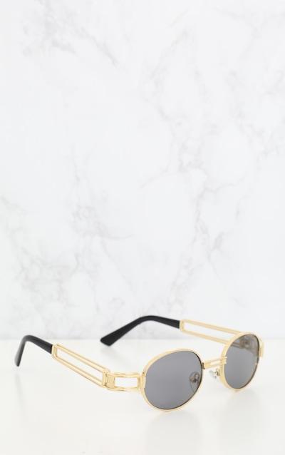 Black Oval Metal Frame Retro Sunglasses