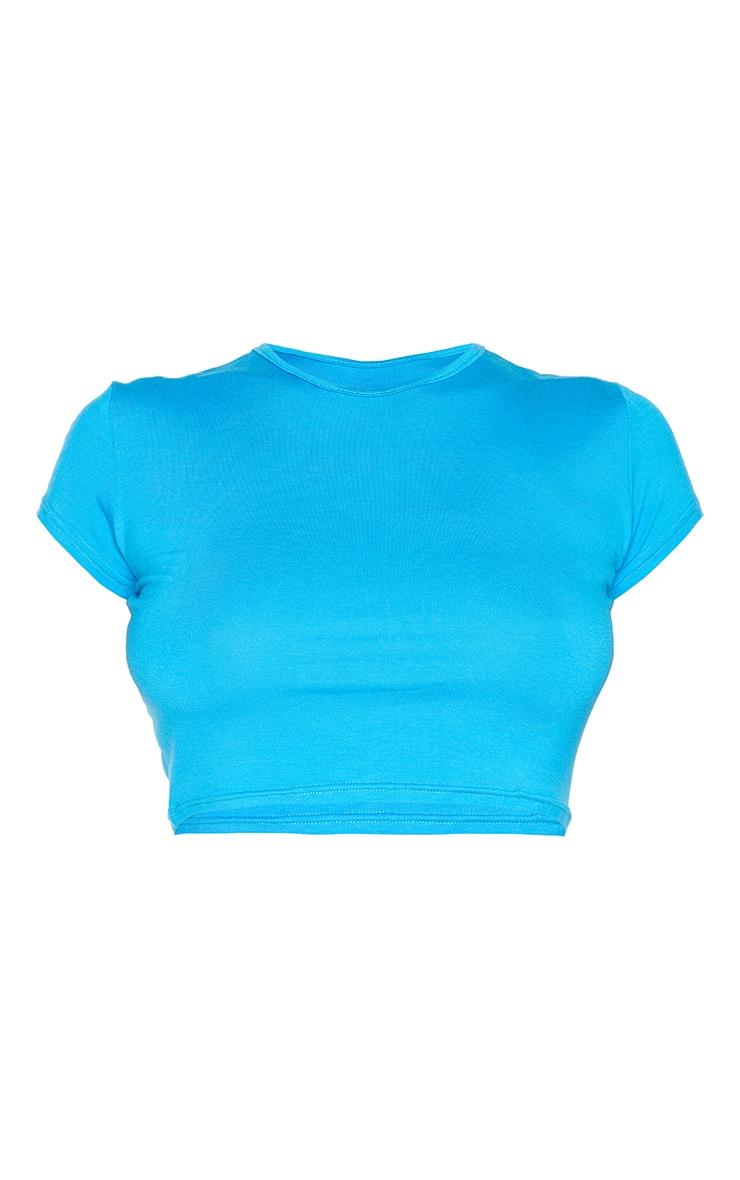 Blue Basic Short Sleeve Crop T Shirt 5
