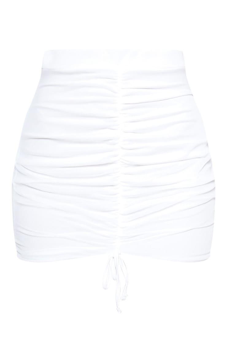 White Mesh Ruched Front Mini Skirt 3