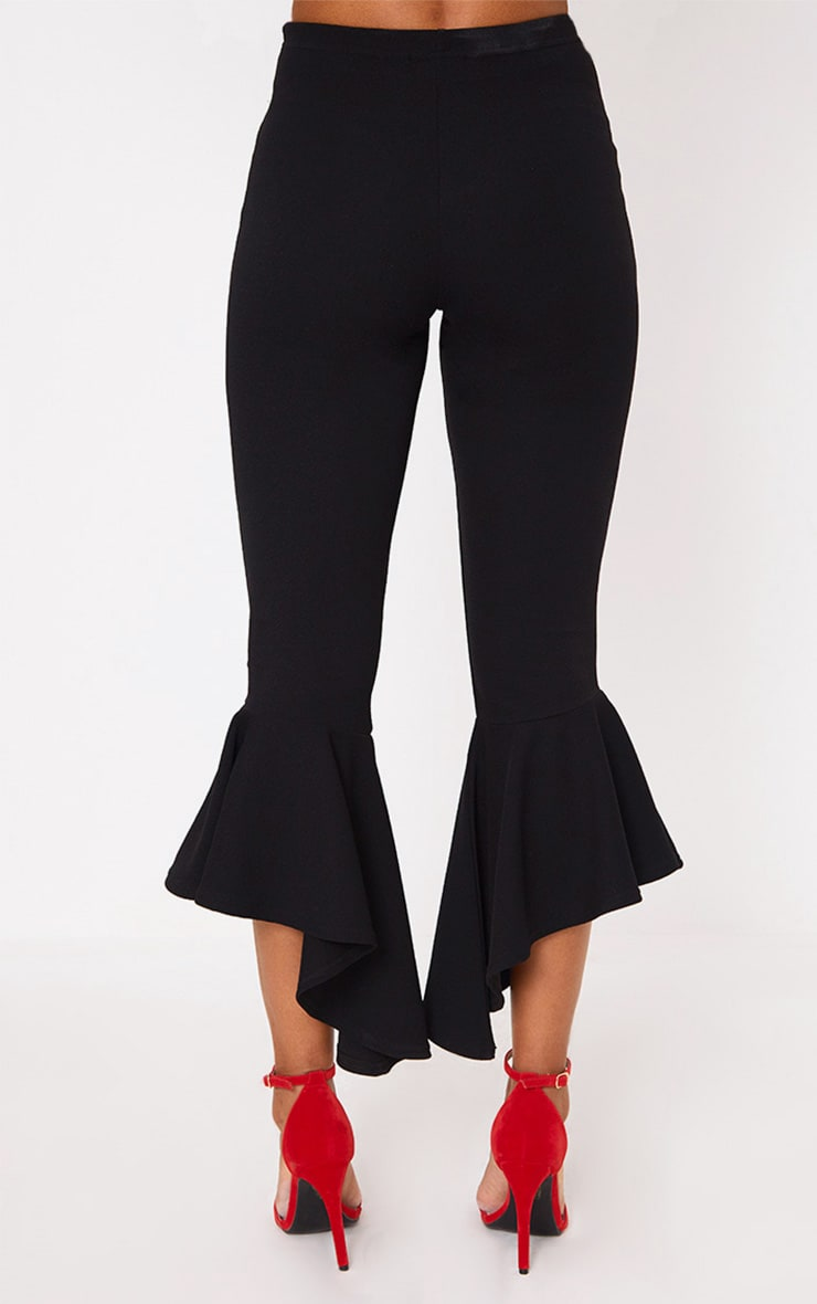 Black Hi Lo Hem Tie Waist Trousers 3