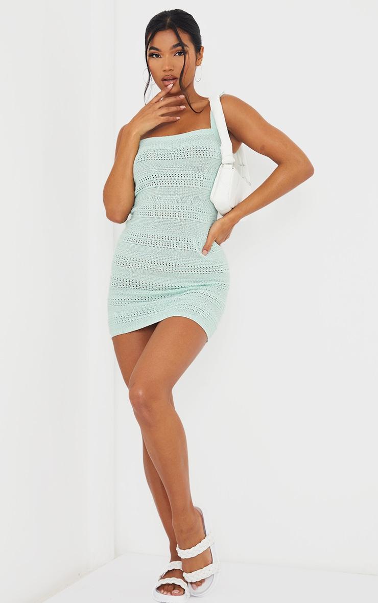 Mint Crochet Knitted Mini Dress 3
