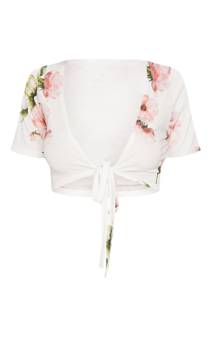 White Floral Tie Front Crop Top 3