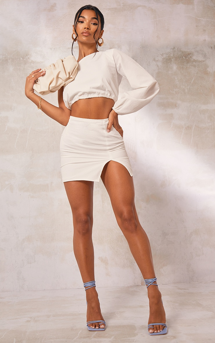 White Textured Woven Split Leg Mini Skirt