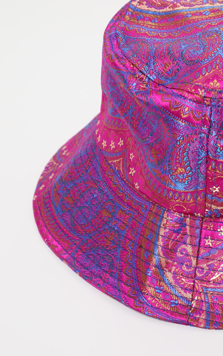 Pink Paisley Print Bucket Hat 3