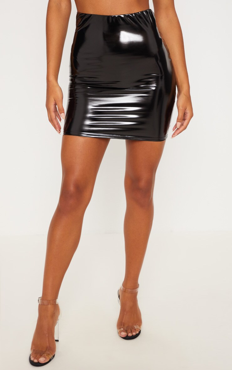 Black Vinyl Bodycon Mini Skirt 2