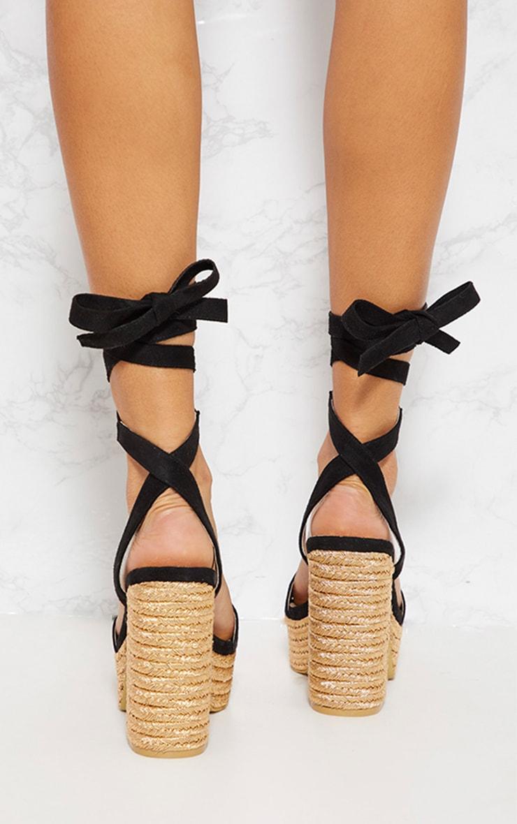 Sandales style espadrilles noires à plateforme et lacet 3